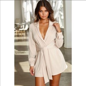 Oh Polly Drape Escape Belted Mini Dress